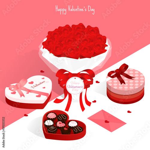 happy valentine\'s day,isometric valentine rose chocolate gift box ...
