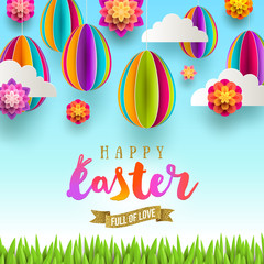 Easter greeting card - Easter greeting with glitter gold ribbon and  paper csene with eggs, flowers, clouds and grass. Vector illustration.