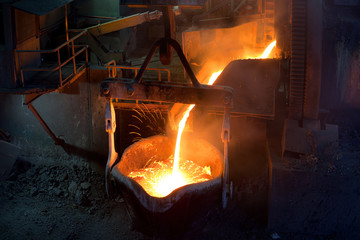 Pouting molten copper at a Copper Mill in Chile