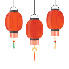 Lantern icon, Chinese or Japanese red lantern