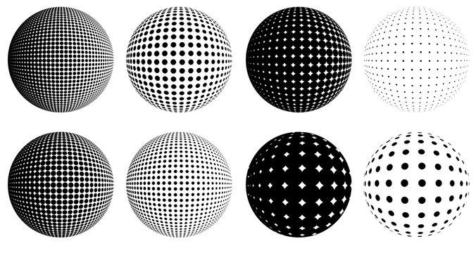 halftone dot globes