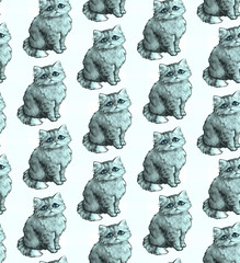 Seamless texture. Repeating background. Tile pattern. Ornament with cute nice cats. Adorable blue kittens with sad look and fluffy fur.