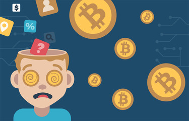 Open head man with dollar coins in his mind. Dark background infographic illustration.