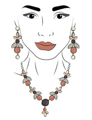 A girl in jewels. Necklace and earrings in the form of leaves and berries with gray, white and light pink stones eps 10 illustration
