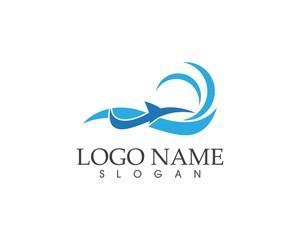 Shark fish in wave logo design