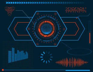 Futuristic HUD interface elements. Vector illustration.