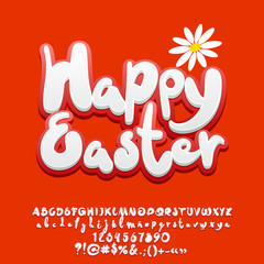 Vector cute Greeting Card Happy Easter with flower. Set of Alphabet red Letters, Numbers and Symbols
