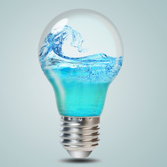 .Electric bulb and water inside