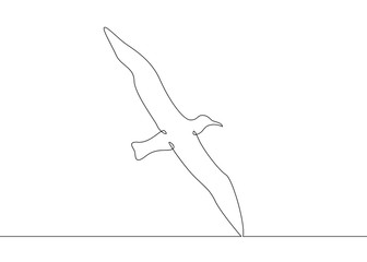 continuous line drawing bird flying