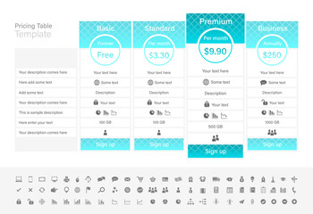 Pricing table with 4 plans with turquoise header.