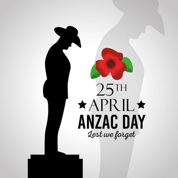 anzac day lest we forget vector illustration