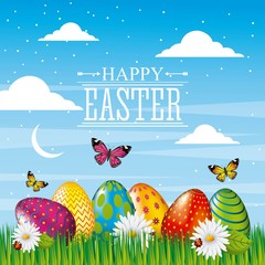 happy easter card bright eggs butterfly field sky vector illustration