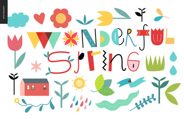 Wonderful spring lettering and elements - set of seasonal elements