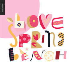 Love, spring, bench fun lettering