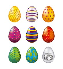 colorful glossy eggs easter celebration set vector illustration