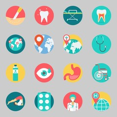 Icons set about Medical. with location, yoga and tooth