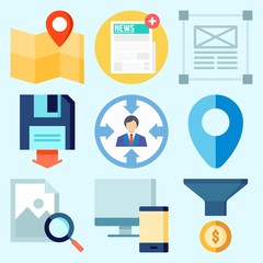 Icons set about Seo with target, newspaper, funnel, backup, map and design