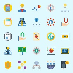 icons set about Marketing. with shield, target, worldwide, networking, pyramid and money