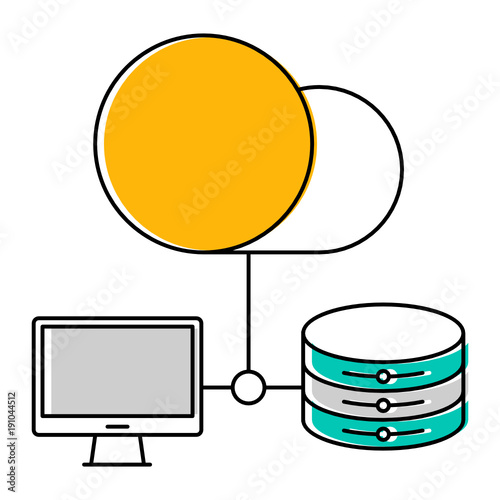 Computer, server, database, cloud icon