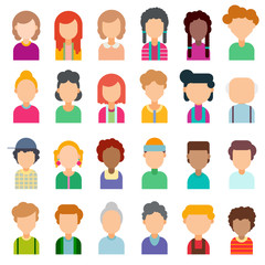Colorful set of avatars in flat design. Vector illustration. Portraits of different people on a white background.