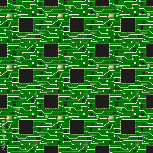 Seamless pattern of circuit board. Vector circuit board illustration ...