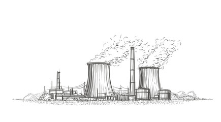 Nuclear power plant hand drawn sketch. Vector.