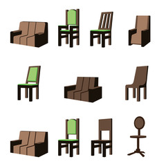 Set of furniture perspective assets chair sofa seat