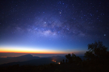 milky way galaxy before morning sunrise at Doi inthanon Chiang mai, Thailand. Long exposure photograph. With grain