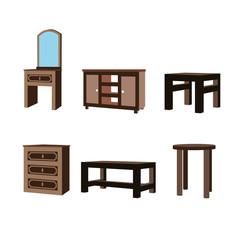 Set of furniture perspective assets, desk, table