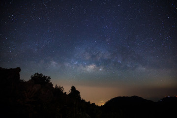 Milky Way Galaxy at Doi Luang Chiang Dao before sunrise. Long exposure photograph.With grain