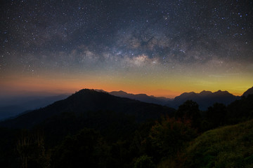 Beautiful mountain landscape with Milky way galaxy at Monson viewpoint Doi AngKhang, Chaingmai Thailand