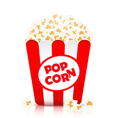 Popcorn vector, realistic illustration. Flakes of popcorn in a paper cup in red and white stripes, isolated on white background