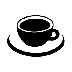 Cup of coffee vector icon, logo, sign, emblem. Black abstract coffee cup and saucer, isolated on white background