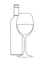 Bottle of wine and wineglass, vector outline drawing, contour picture, coloring, sketch, icon, logo, sign, emblem, black and white illustration. Isolated on white background