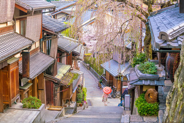 Old town Kyoto, the Higashiyama District during sakura season Wall mural