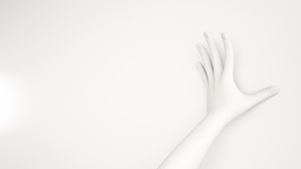 White background 3d hand gesture. 3d illustration, rendering.