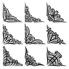 Vector set of decorative black Corners on white for creating frames, ornate decoration with flourishes, 9 vintage corners with curls and dots for borders, ornament with detail indian design elements.