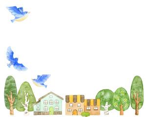 青い鳥と街並み