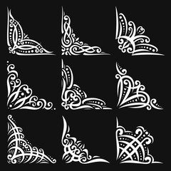 Vector set of decorative white Corners on black for creating frames, ornate decoration with flourishes, 9 vintage corners with curls and dots for borders, ornament with detail indian design elements.