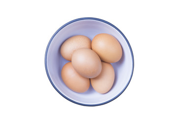 Five eggs in bowl on white background isolated with clipping path.