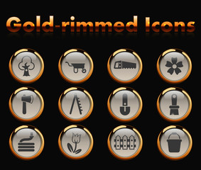 gardening gold-rimmed vector icons with black background