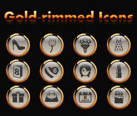 8 march gold-rimmed vector icons with black background