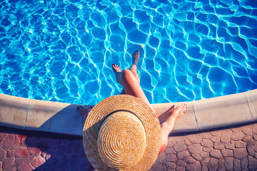 girl, pool, straw hat