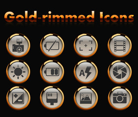 photography gold-rimmed icons for your creative ideas