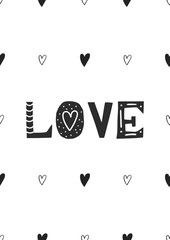 Love - Cute hand drawn nursery poster with handdrawn lettering in scandinavian style. Vector illustration