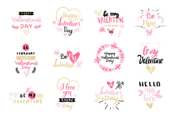 Happy Valentines Day Typography Poster With Hand Drawn Text And Heart Shape Isolated On White Background Vector Illustration