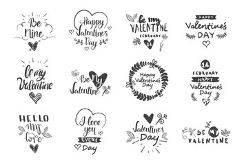 Valentine Day Labels, Badges And Icons, Love Greetings Cards, Typography Design Elements Set Vector Illustration