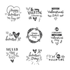Valentines Day Typography Lettering Logo Set. Design Emblems, Quote Text With Hearts For Decorative Banners, Greeting Cards Vector Illustration