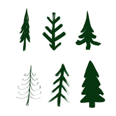 Fir tree set, watercolor ink illustration, object isolated on white background.