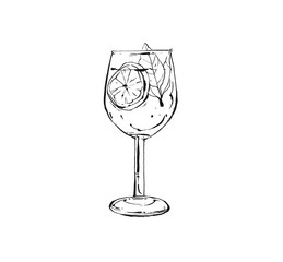 Hand drawn vector abstract artistic cooking ink sketch illustration of tropical fruit lemonade shake drink in wineglass isolated on white background